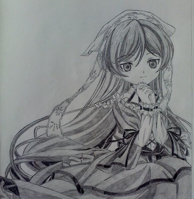我要一些动漫长发女生的铅笔画,素描.