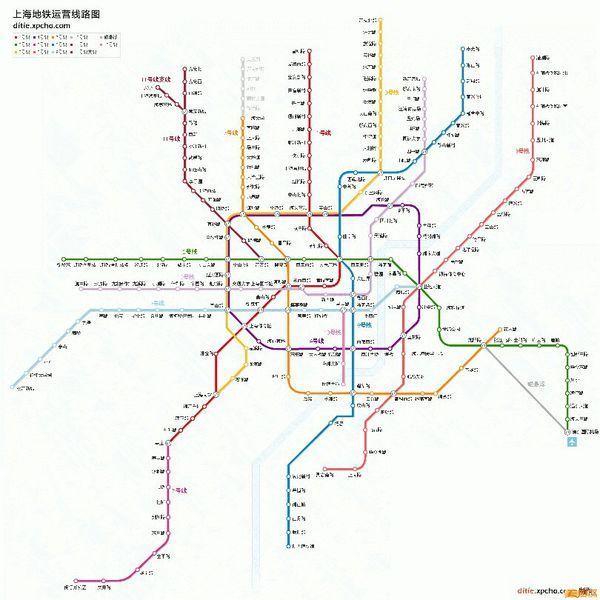2016年上海轨道交通网络示意图