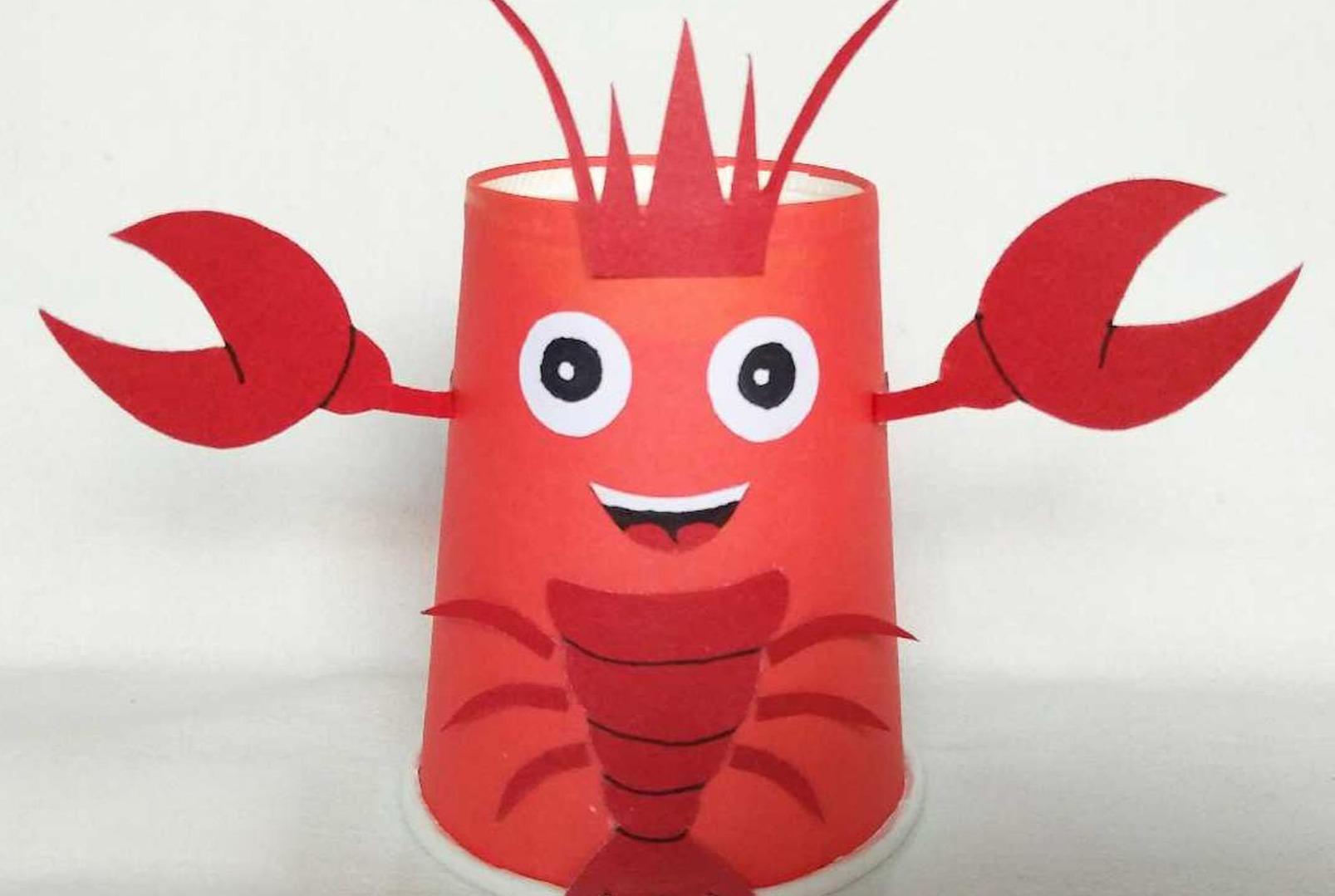 视频-手工diy创意教程:孩子轻松利用纸杯工艺制作小龙虾几分钟学会