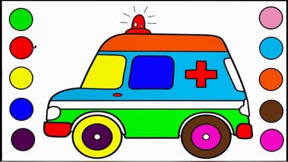 儿童绘画识色 救护车颜色填充 宝宝早教益智游戏