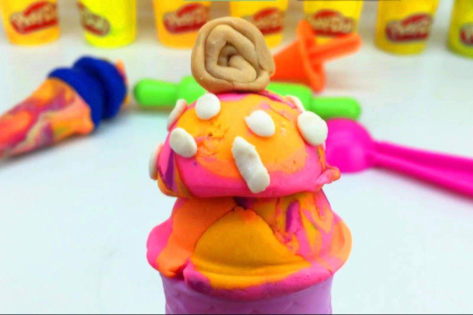 培乐多彩泥手工制作好看的冰淋淇