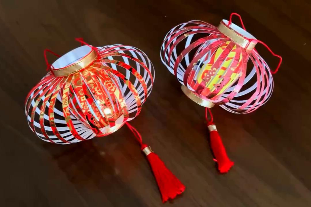 寒假手工作业有了,幼儿创意手工用红包袋做个简单好看的灯笼