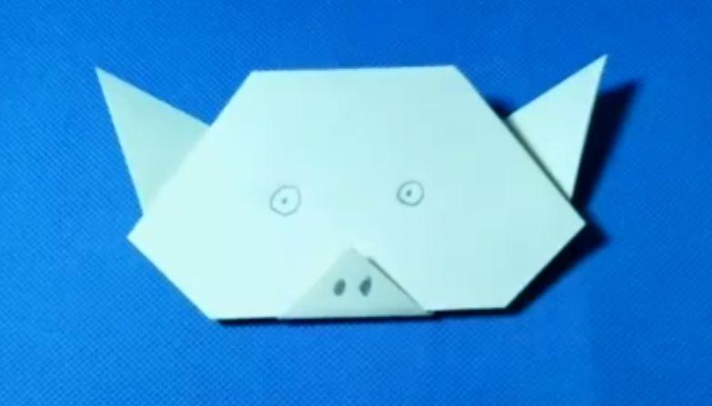 儿童折纸猪头视频教程