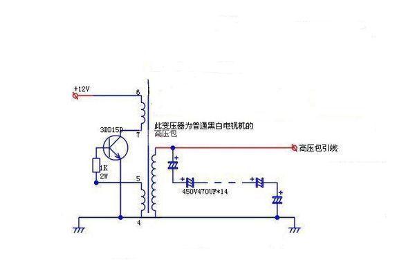 请问如何用黑白电视机的高压包自制一个简易的升压器,最好带电路图.