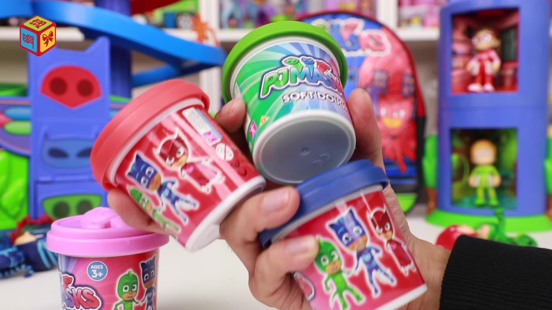 睡衣小英雄彩泥手工制作飞壁侠猫头鹰女胸标 pjmasks玩具大全-.