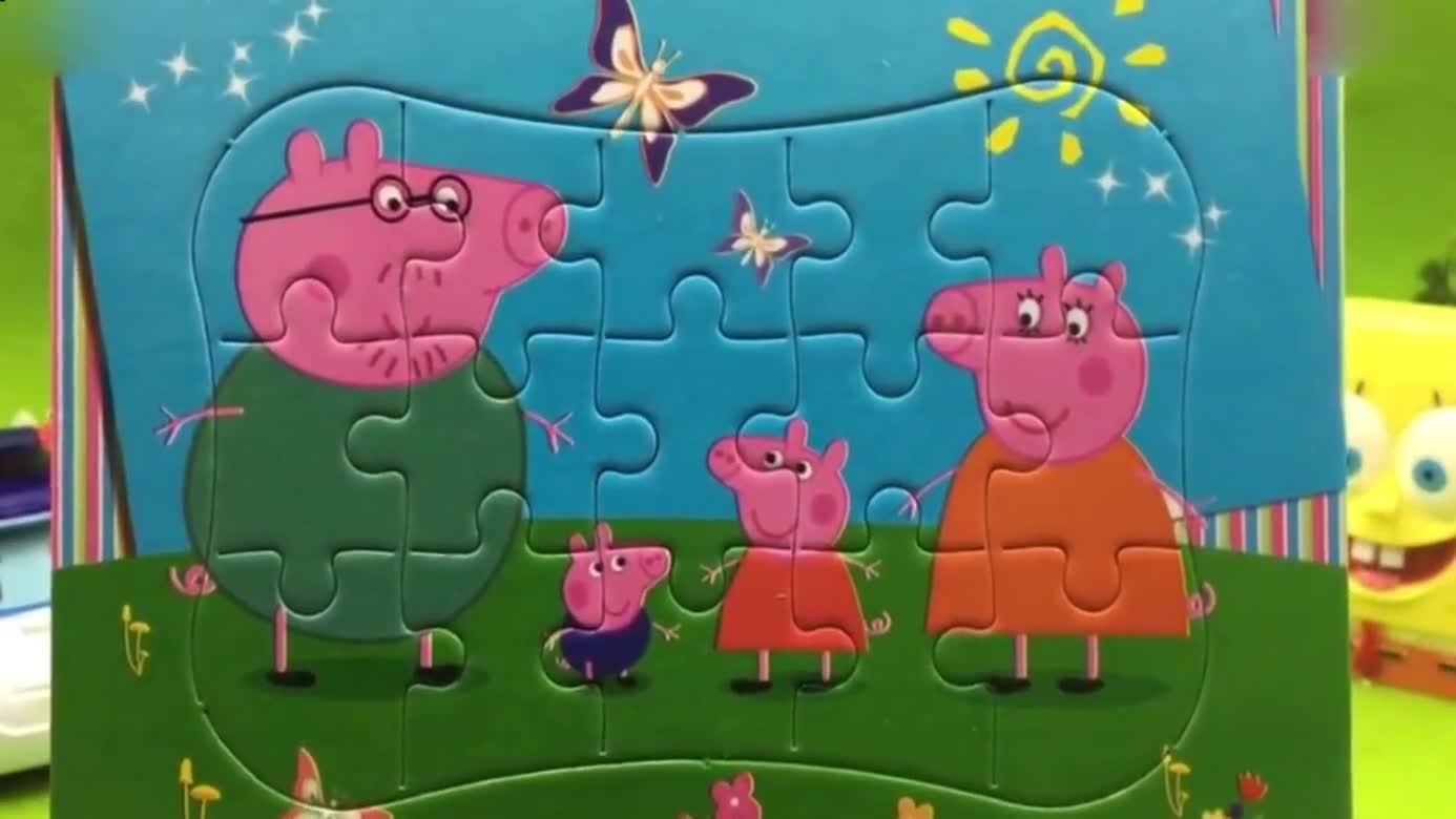 小猪佩奇佩佩猪玩具 变形警车珀利海绵宝宝拼装小猪佩奇益智拼图