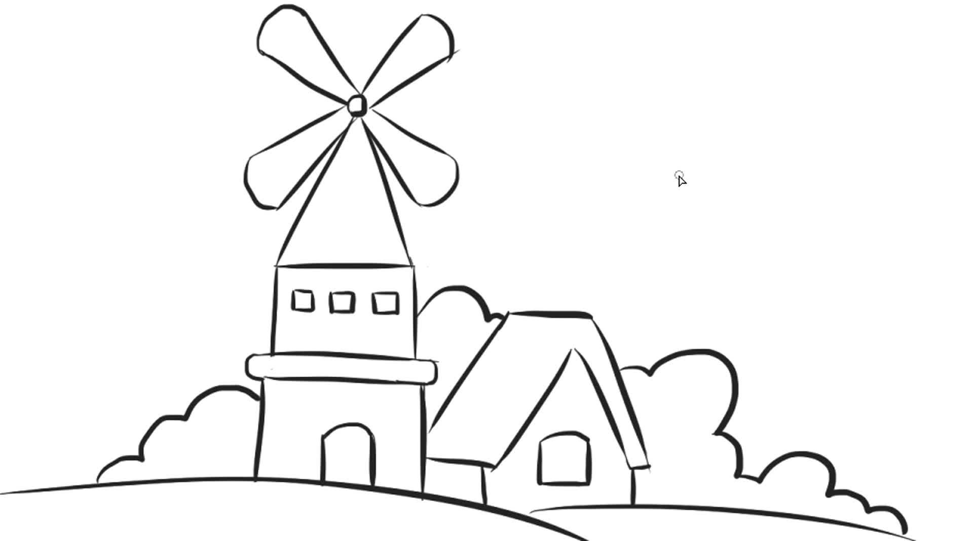 [小林简笔画]教小朋友们如何绘画风景风车城堡儿童卡通简笔画教程