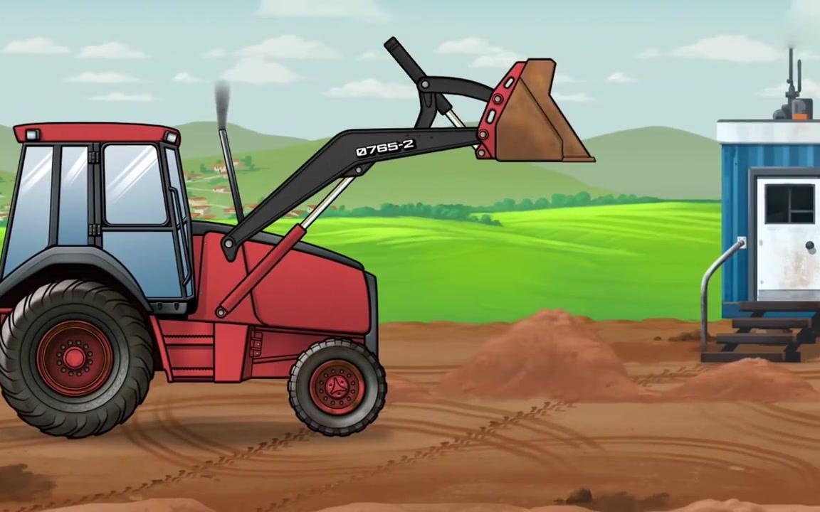 挖掘机推土机动画片 变换挖掘机颜色玩具视频 儿童遥控挖掘机搅拌车