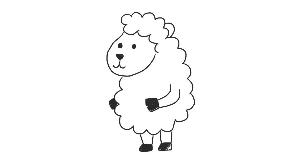 可爱的卡通绵羊幼儿亲子儿童简笔画 幼儿园学画画-绘心儿童绘画.