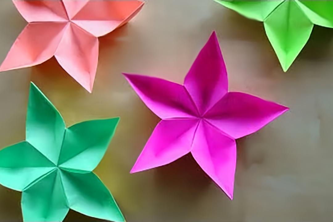 简单手工折纸五星花,非常简单,看一遍 就学会了