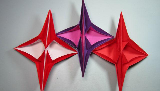 纸艺手工折纸星星花,一朵简单又漂亮的小花折纸视频