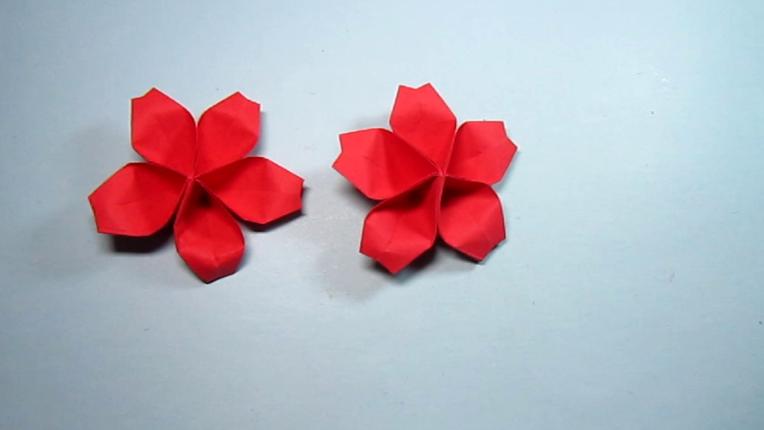 儿童手工折纸桃花,简单又漂亮桃花的折法教程,手工diy