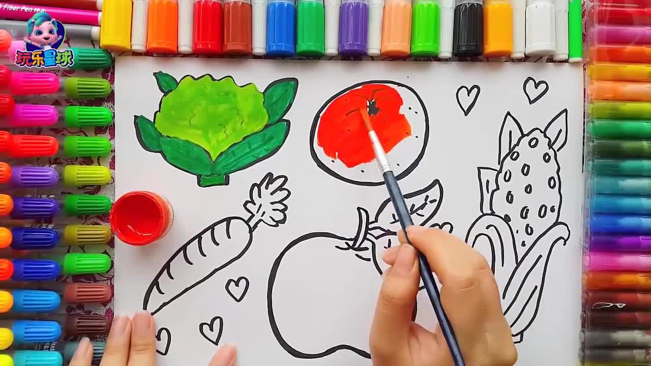 宝宝学画画: 彩色的蔬菜水果教学 少儿简笔画