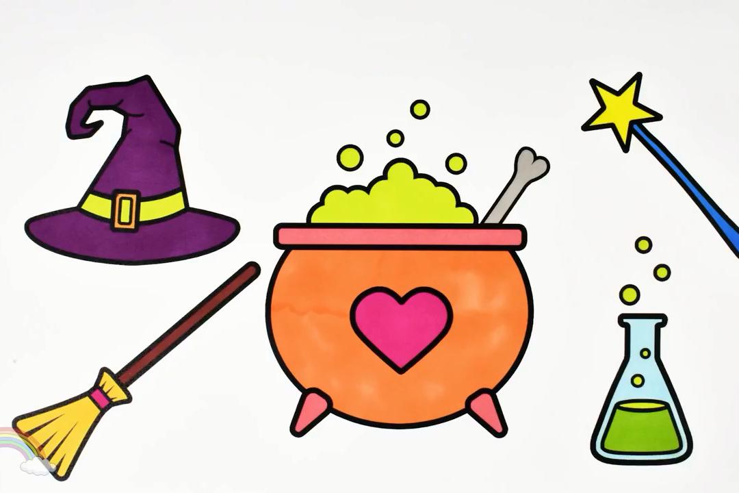 视频:儿童趣味简笔画,陪幼儿画巫师帽,扫把,魔法棒等巫师系列简笔画