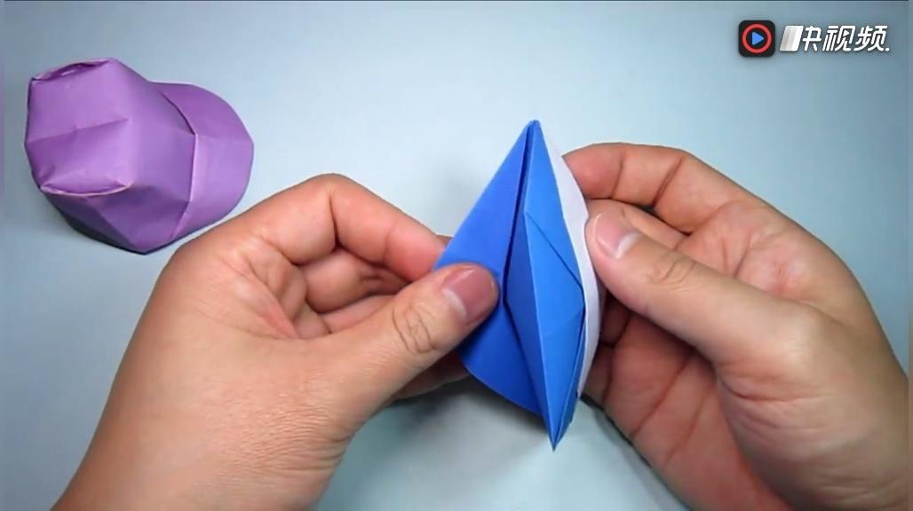 儿童手工折纸教程, 简单的帽子折法, diy手工制作