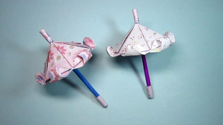 儿童手工折纸伞,简单公主伞的折法,diy手工制作