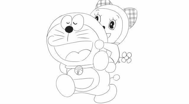 [小林简笔画]绘画动画片机器猫《哆啦a梦伴我同行》中的哆啦a梦和哆啦