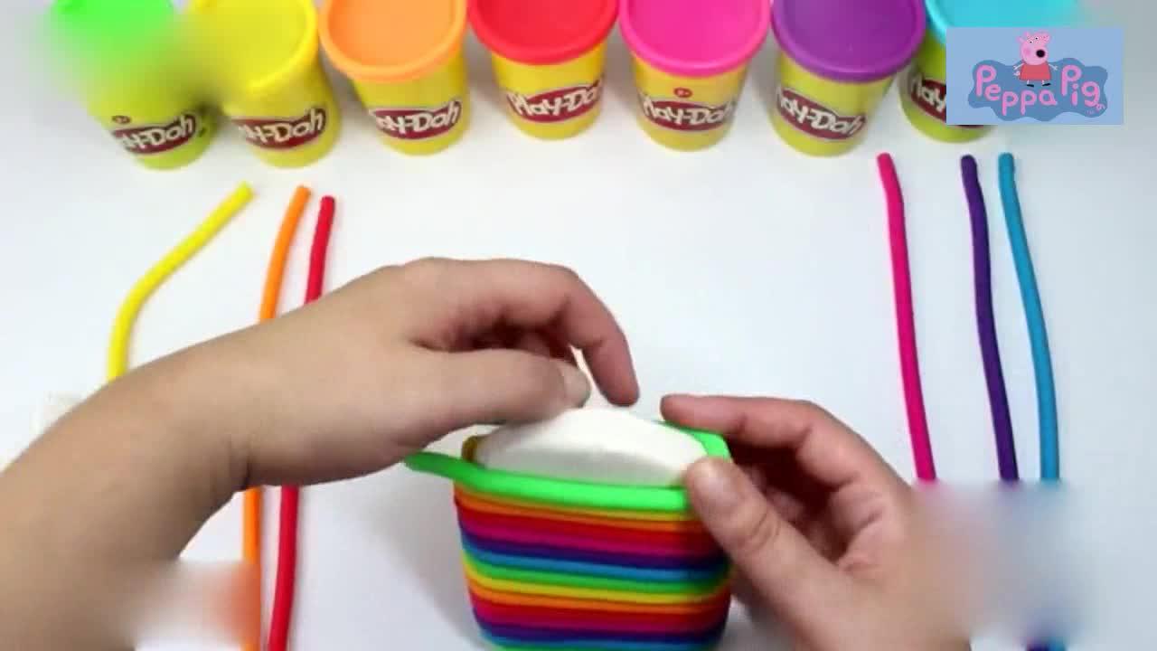 彩泥黏土橡皮泥diy纯手工制作彩虹雪糕教程视频-儿童玩具视频-欧阳尧