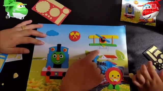 3457奥特曼乐迪亲子儿童手工制作托马斯小火车小猪佩奇立体贴画