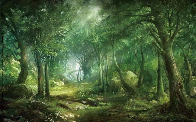 树林场景绘制丨cg场景设计丨手绘教程丨绘画教程 丨cg原画教程丨