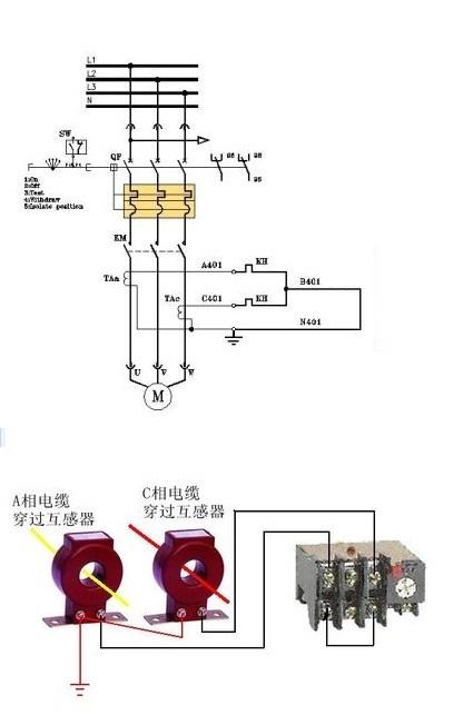 4a 接线看看图片  2个电流互感器和1个小热继电器来代替1个大热继电器