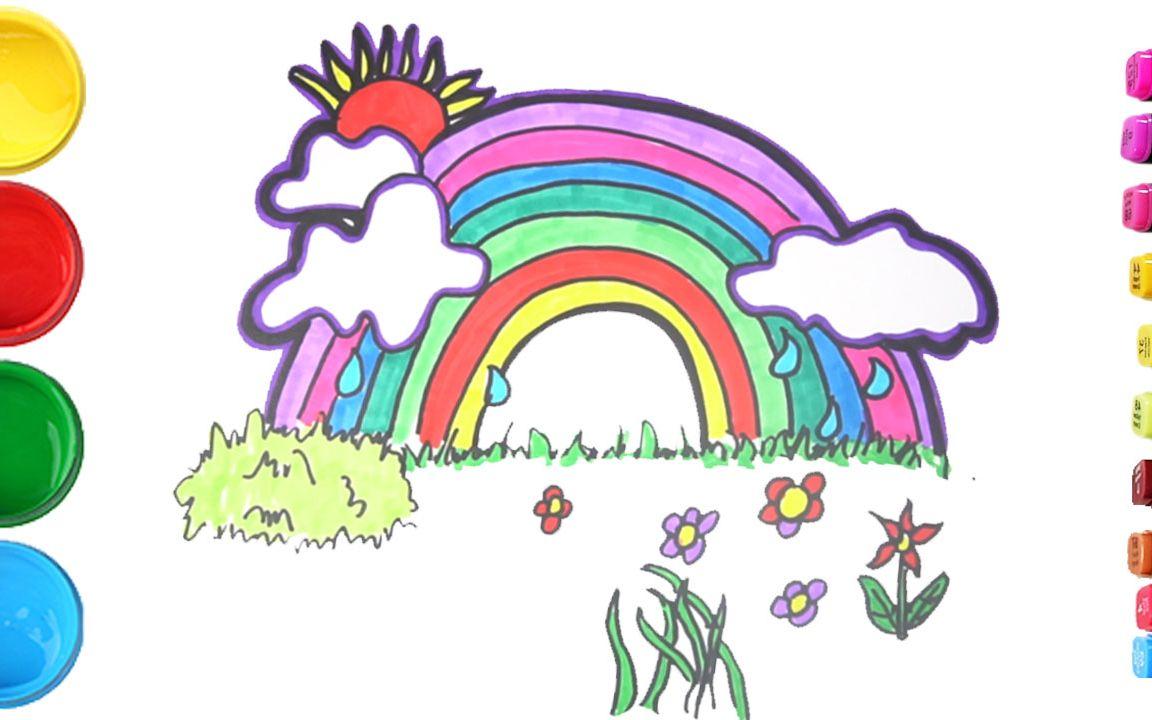 简笔画彩虹简笔画图片大全儿童画幼乐园画画作业简笔画学英语