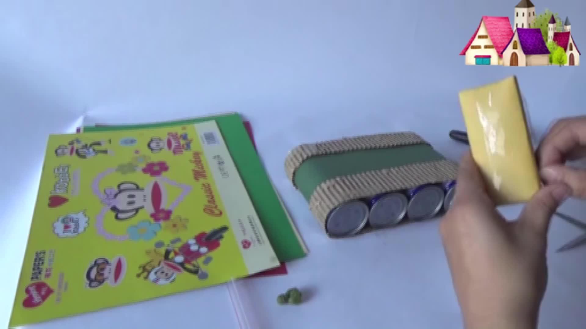 儿童玩具手工制作坦克车,用卡纸制作手工-小猪佩奇玩具乐园-艾琳的.