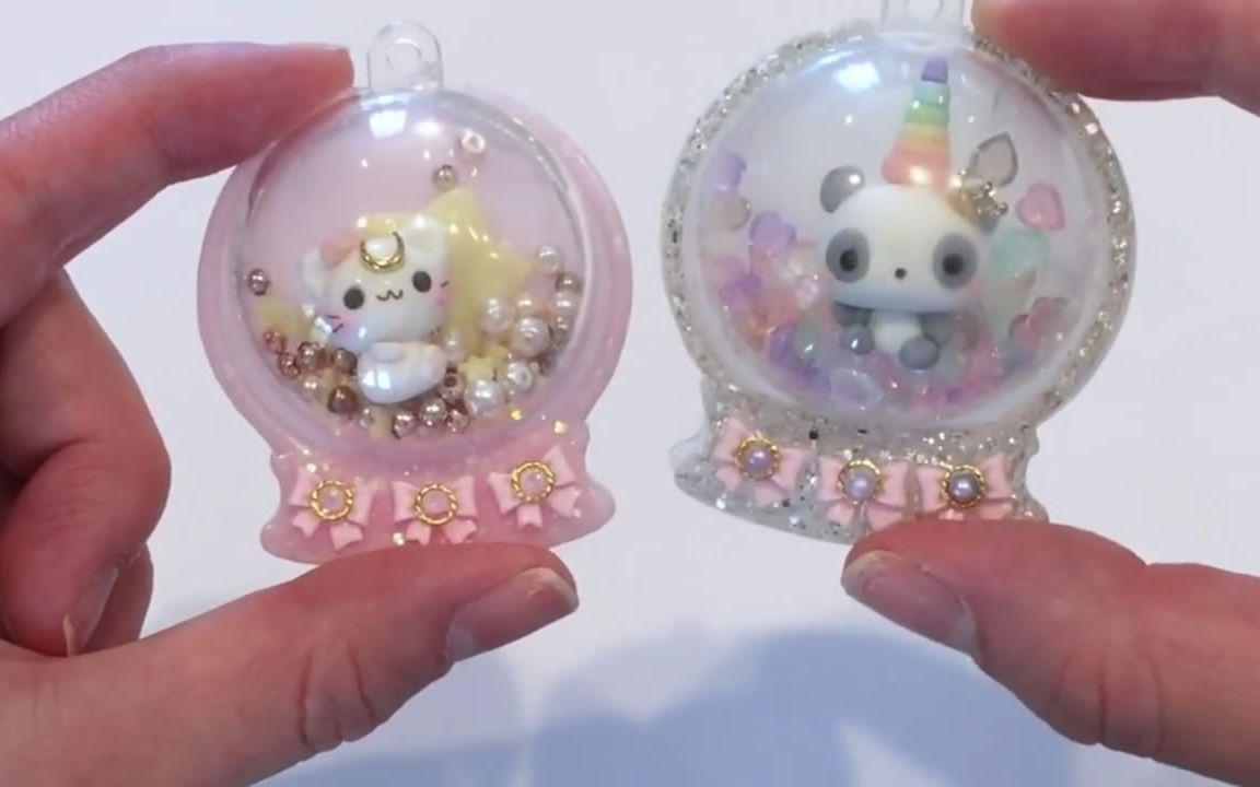 """创意手工diy,教你用树脂和粘土制作""""水晶球挂饰""""的方法"""