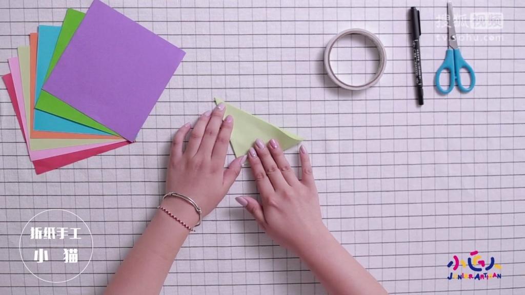 儿童折纸大全 手工折纸可爱小猫 手工折纸diy