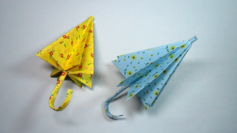 纸艺手工小雨伞的折法,简单又漂亮的雨伞手工折纸教程