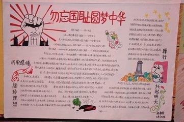 题目:勿忘国耻圆梦中华手抄报写字内容或画好的图片