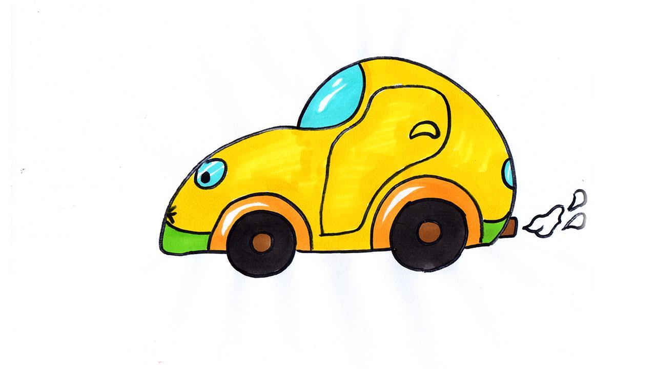 小汽车简笔画教程,没有美术基础也能画得这么可爱哦-少儿简笔画-v视宝