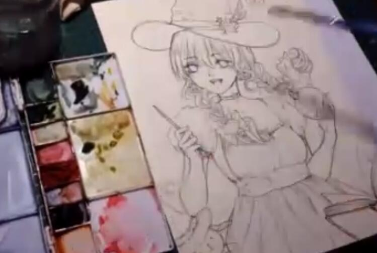 视频:水彩画二次元动漫少女 上色过程视频