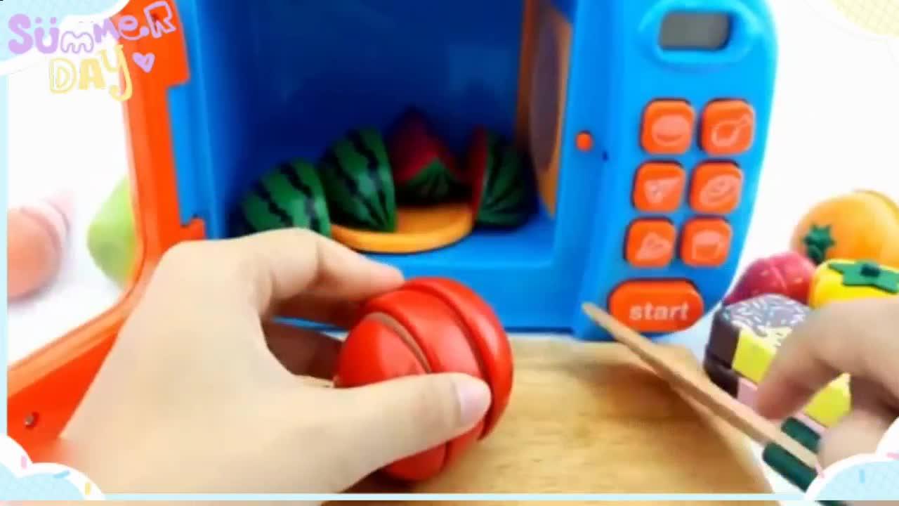 橡皮泥手工视频 切水果学做水果雪糕