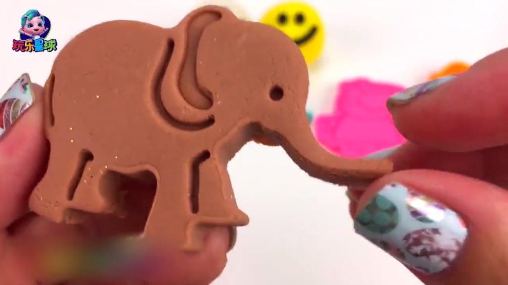 彩泥儿童手工diy 橡皮泥艾莎公主雪糕大象粘土制 早教学习颜色