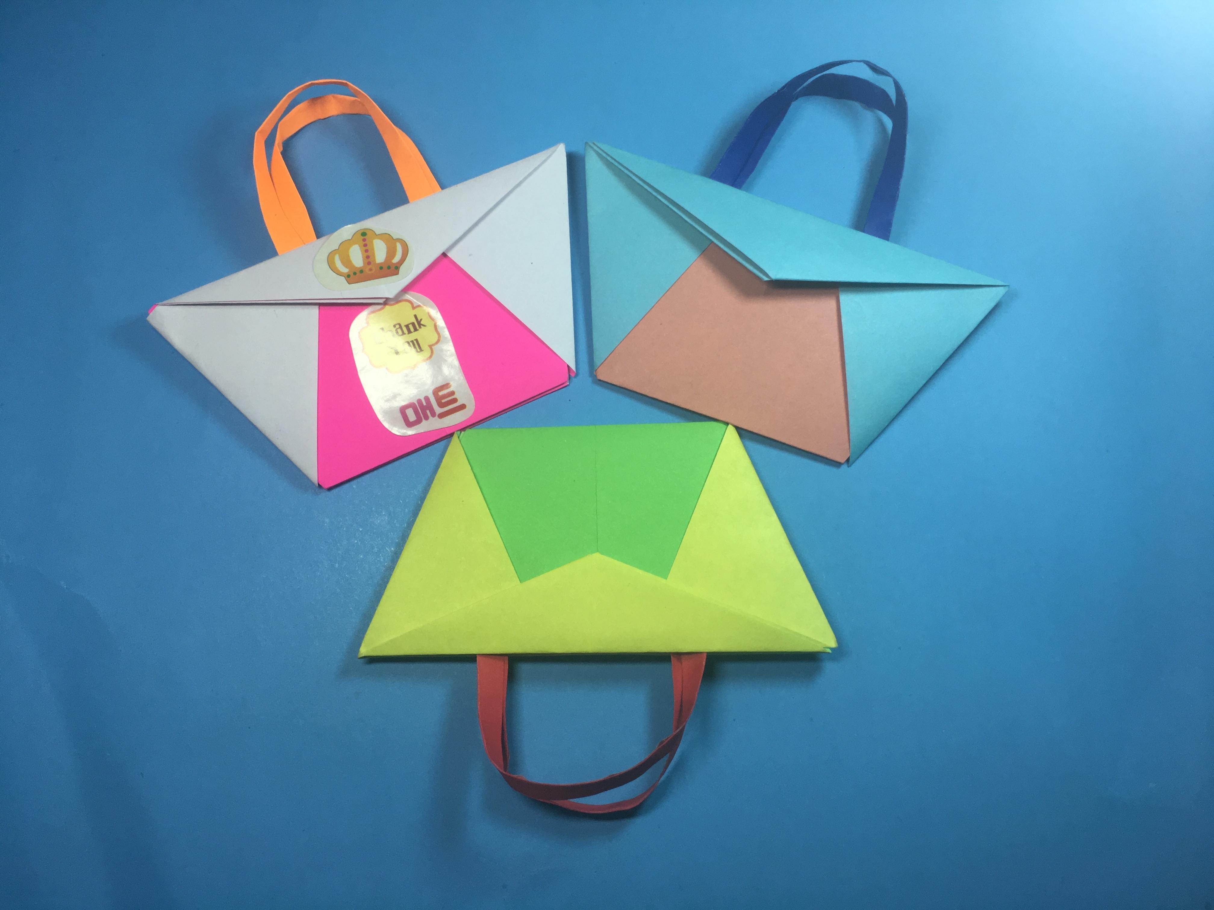 儿童手工折纸斜挎包,简单又漂亮的包包折法教程