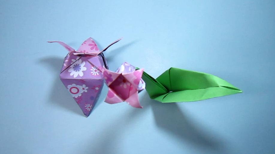 儿童手工折纸大全,花朵折纸,简单的几个步骤学会折纸花