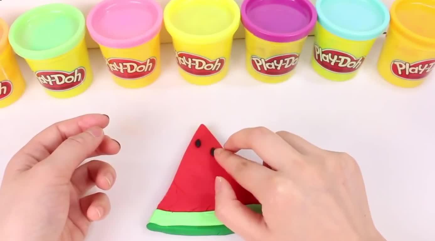 橡皮泥自制清爽西瓜 北美玩具橡皮泥彩泥制作玩具