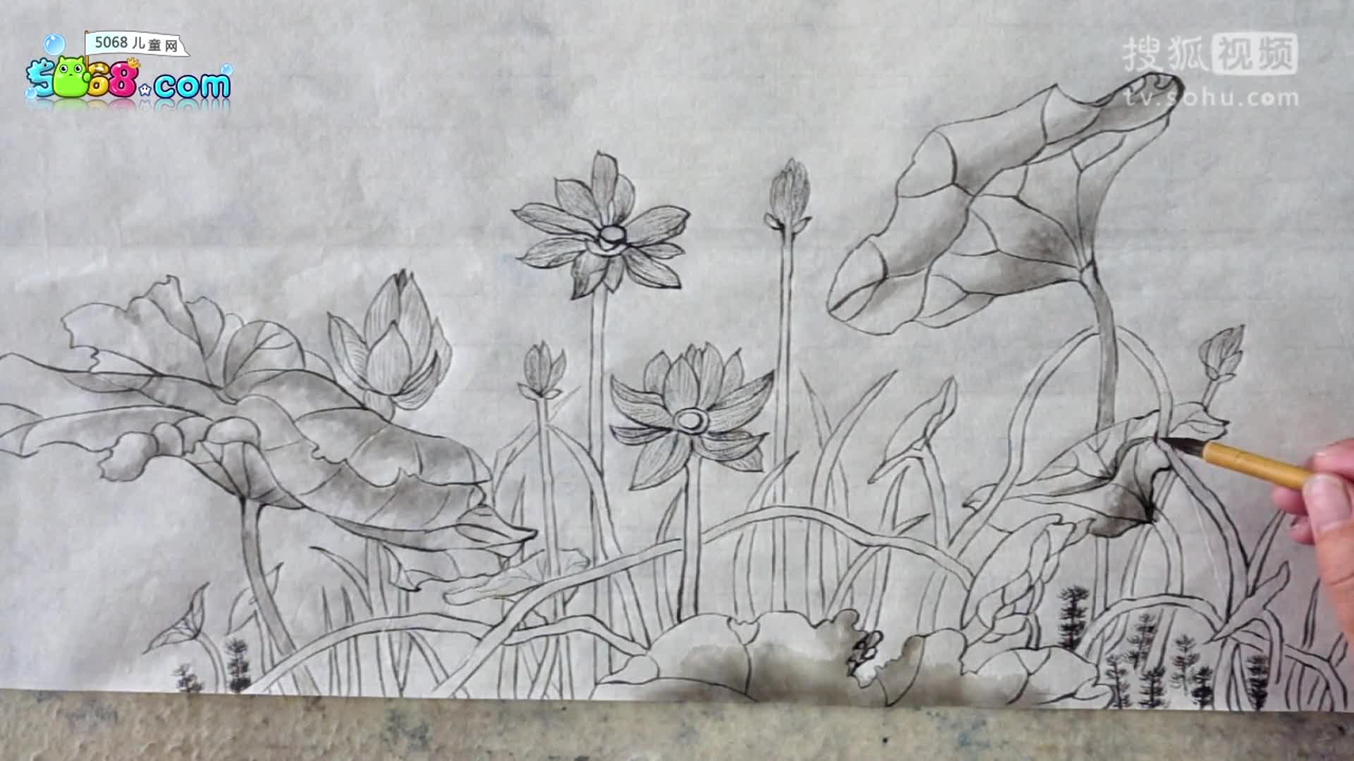 5068儿童网学国画第45课:工笔画-荷花渲染