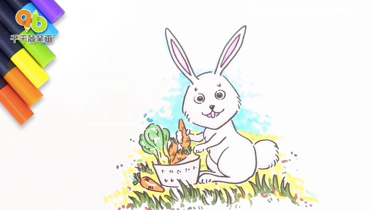 小兔子乖乖儿歌简笔画,最爱吃胡萝卜大白菜