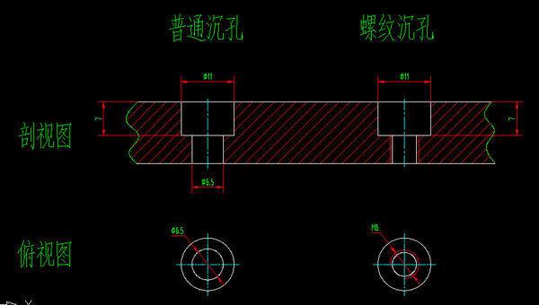 CAD中带论文的沉孔范文cad螺纹画法2000字图片