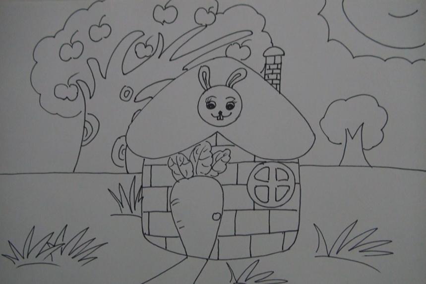 月亮姐姐简笔画小兔子的漂亮房子
