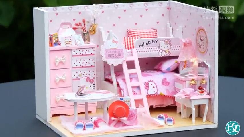 手工制作迷你凯蒂猫娃娃屋,粉色系的装扮,少女心都融化了