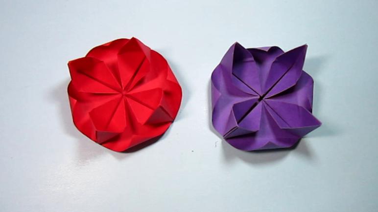 简单的手工折纸莲花 3分钟就能学会睡莲的折法