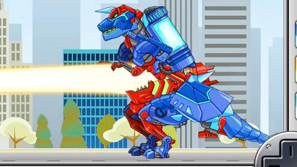 视频:果果解说小游戏 火焰机械霸王龙和冰雪三角龙合体作战