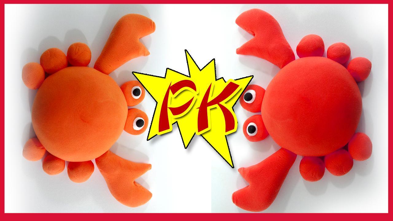 煮熟的大螃蟹彩泥手工制作 儿童玩具橡皮泥创意diy