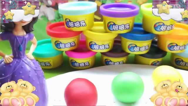 苏菲亚小公主教小朋友用彩泥认识颜色,动手做彩色汤圆小手工亲子.