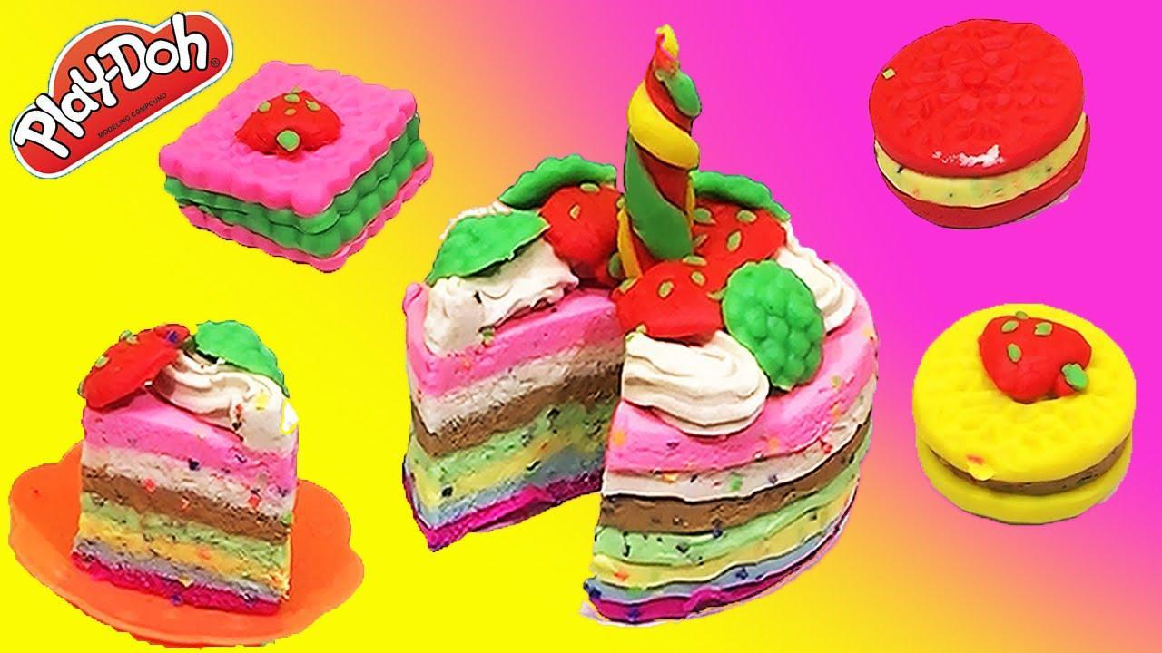 小猪佩奇一家用橡皮泥制作彩色美味点心 彩虹玩具屋