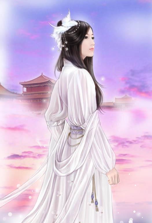 求古装手绘白衣女子