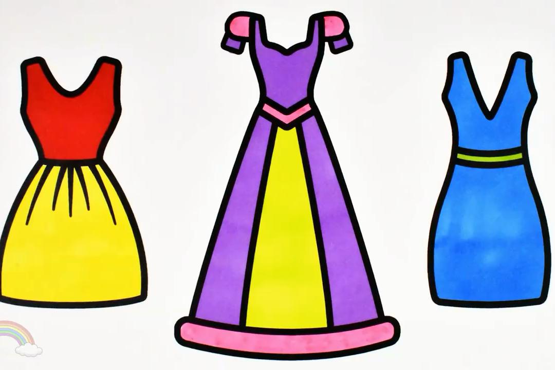视频:幼儿早教简笔画教程,在家教小孩画简笔画连衣裙公主裙以及上色